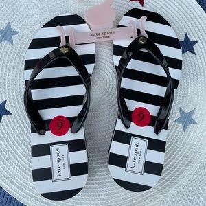 Kate Spade black white stripe flip flop size 6 NWT